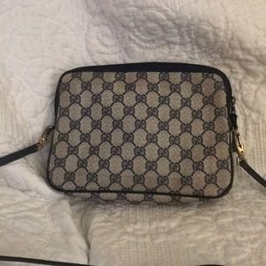 Vintage navy Gucci monogram all over crossbody bag